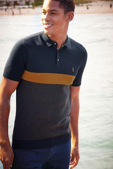 Colourblock Knitted Polo