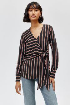 Warehouse Stripe Long Sleeve Wrap Top