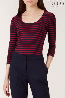 Hobbs Navy/Red Striped Daisy Top