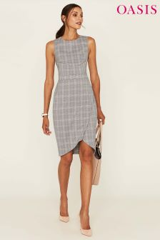 Oasis Brown Check Workwear Dress