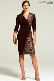 HotSquash Chocolate Lace Detail Jersey Wrap Dress