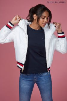 Tommy Hilfiger Women White Annabel Terry Reversible Bomber