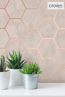 Metro Hex Marble Wallpaper by Crown