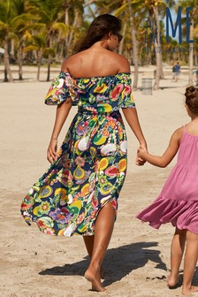 Matching Family Womens Multi Fruit Print Off The Shoulder Dress