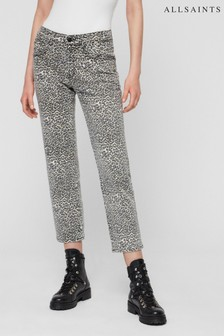 AllSaints Leopard Print High Waist Mom Fit Jean