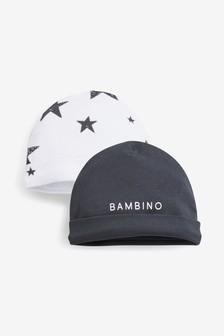 מארז שני כובעי גרב עם כיתוב/כוכב (5-12 חודשים)