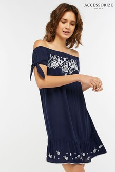 Accessorize Blue Indi Embroidered Off Shoulder Dress