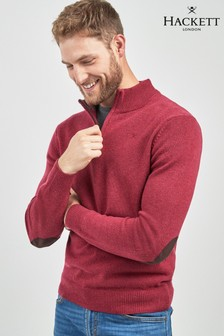 Hackett Burgundy/Pink Half Zip Jumper