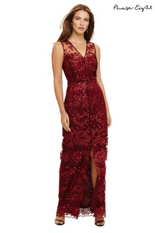 Phase Eight Red Jolene Sequin Lace Maxi Dress