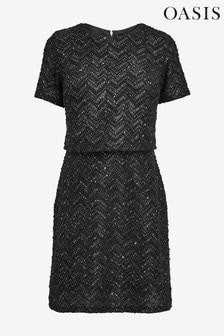 Oasis Black Darcey V-Neck Dress