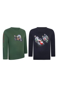 Boys Green/Navy Cotton Long Sleeve T-Shirts Two Pack