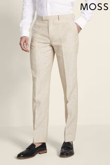 Moss London Skinny Fit Beige Linen Trouser