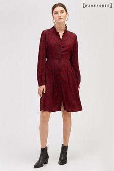 Warehouse Red Ditsy Leopard Print Shirt Dress