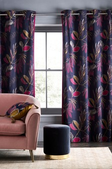 Oriental Leaf Eyelet Curtains