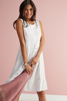 40ca6d554af White · Pink. Sleeveless Nightdress