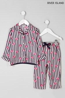 River Island Heart And Stripe Pyjama Set