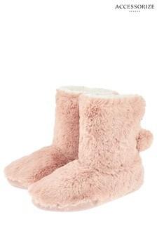 Accessorize Pink Furry Slipper Boot