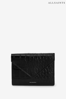 AllSaints Black Moc Croc Leather Polly Purse