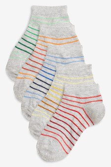 Grey Stripe Trainer Socks Five Pack (Younger)