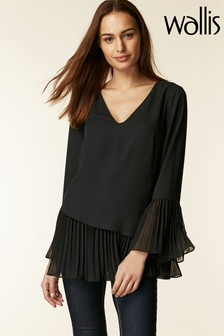 Wallis Black Asymmetrical Pleated Top