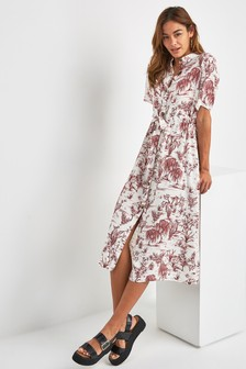 Button Short Sleeve Shirt Dress