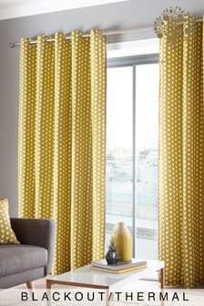 Appletree Dari Blackout Eyelet Curtains With Pom Pom Trim