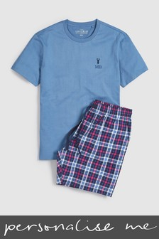 Personalised Blue Check Pyjama Set