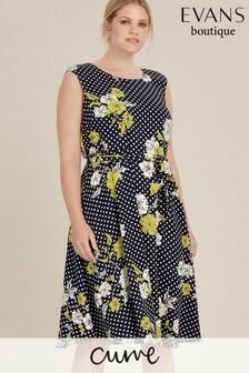 Evans Curve Floral Spot Fit & Flare Dress