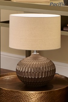 Cassius Bronze Textured Glazed Ceramic Table Lamp by Pacific