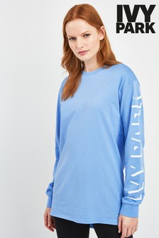 Ivy Park Light Blue Logo Long Sleeve Tee