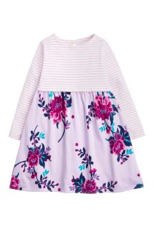 Joules Lilac Layla Print Mix Dress