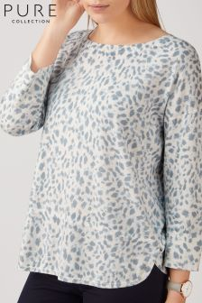 Pure Collection Pullover in Leopardenmuster, grau