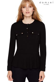 Damsel In A Dress Black Carmella Military Peplum Jersey Top