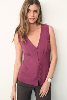 Sleeveless Button Through Blouse