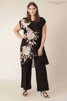Live Unlimited Black Glowing Floral Overlayer Jumpsuit