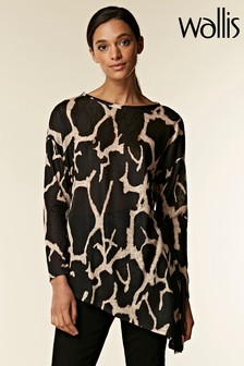 Wallis Black Cow Hide Knitty Top