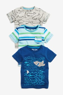 Shark Short Sleeve T-Shirts Three Pack (3mths-7yrs)