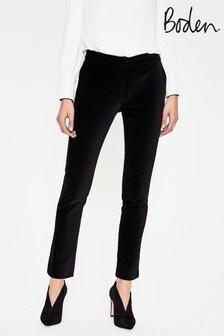Boden Black Velvet Trouser