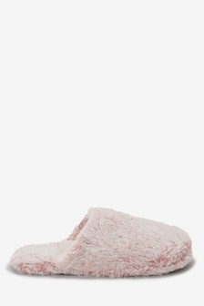 Frosted Faux Fur Mule Slippers