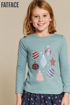 FatFace Blue Bauble Graphic Tee