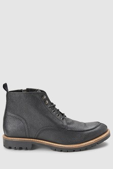 Textured Apron Lace-Up Boot
