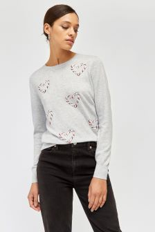 Warehouse Grey Heart Candy Cane Jumper