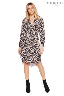 Damsel In A Dress Neutral Hannah Animal Printed Dress
