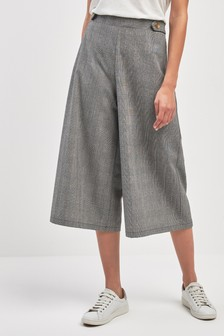 Check Wide Leg Culotte Trousers