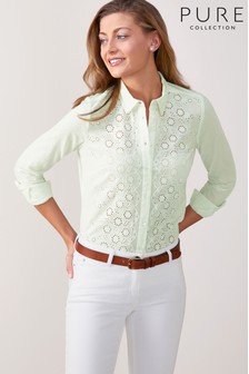 Pure Collection Broderie Anglaise Front Cotton Shirt