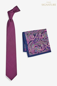 Signature Silk Tie With Paisley Pocket Square