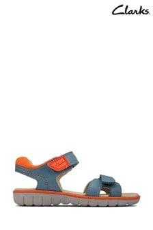 Clarks Mid Blue Leather Roam Surf K Sandals