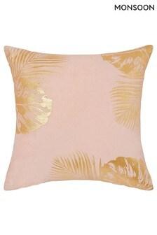 Monsoon Pink Velvet Leaf Cushion