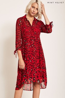 Mint Velvet Red Salma Print Shirt Dress