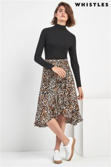 Whistles Animal Print Skirt